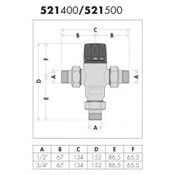 521 - MISCELATORE TERMOSTATICO ANTICALCARE, REGOLABILE CALEFFI - BP TERMOSANITARI