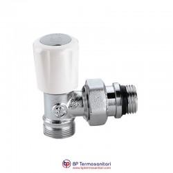 338 - Valvola termostatizzabile, attacchi a squadra, per tubi in rame, plastica semplice e multistrato
